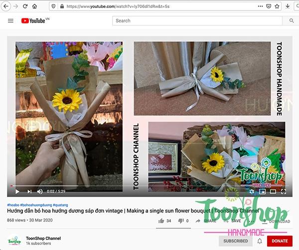 Hướng dẫn bó hoa hướng dương sáp đơn Vintage