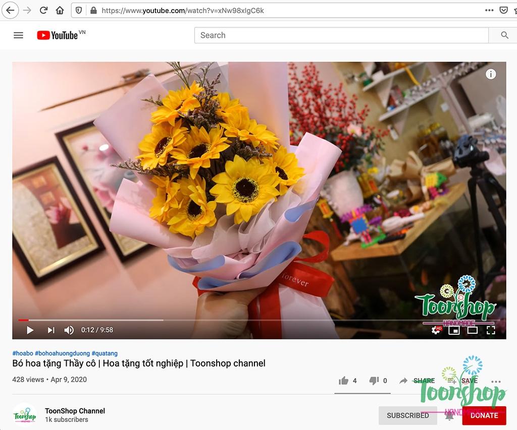 ToonShop hướng dẫn bó hoa hướng dương cực đẹp tặng thầy cô