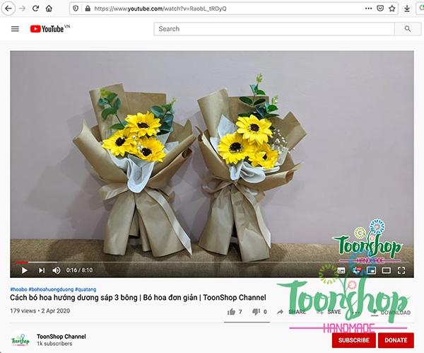 Hướng dẫn bó hoa hướng dương sáp 3 bông Vintange