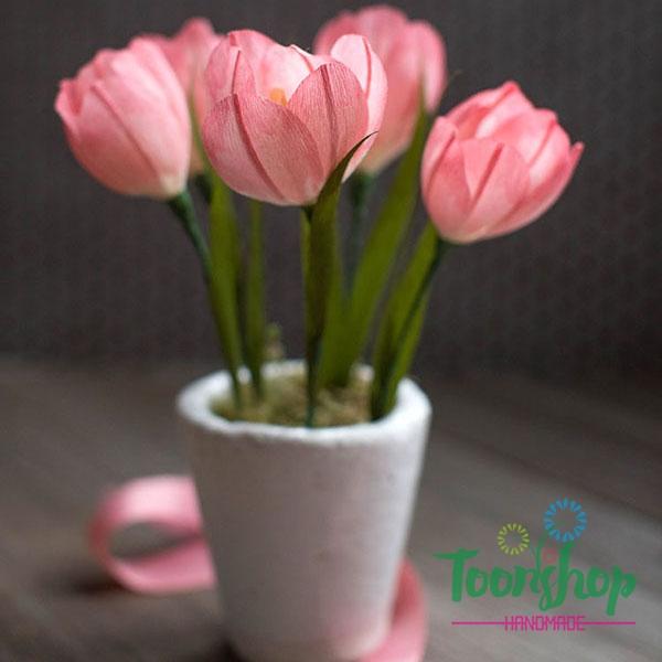 Làm hoa Tulip từ giấy nhún thật dễ dàng