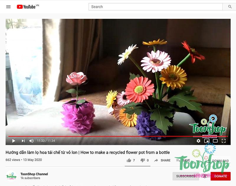 Hướng dẫn làm lọ hoa tái chế từ vỏ lon
