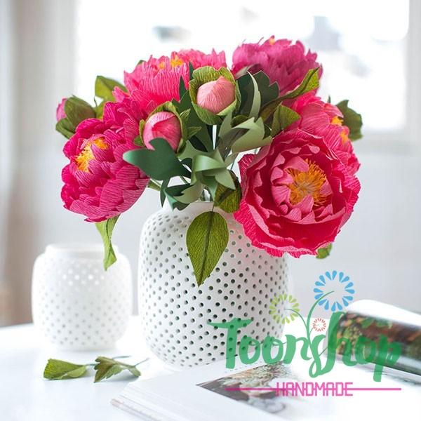 Làm bình hoa mẫu đơn giấy nhún hồng yêu thương