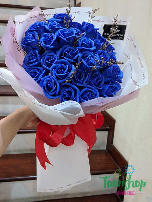 Bó hoa hồng sáp thơm màu xanh coban