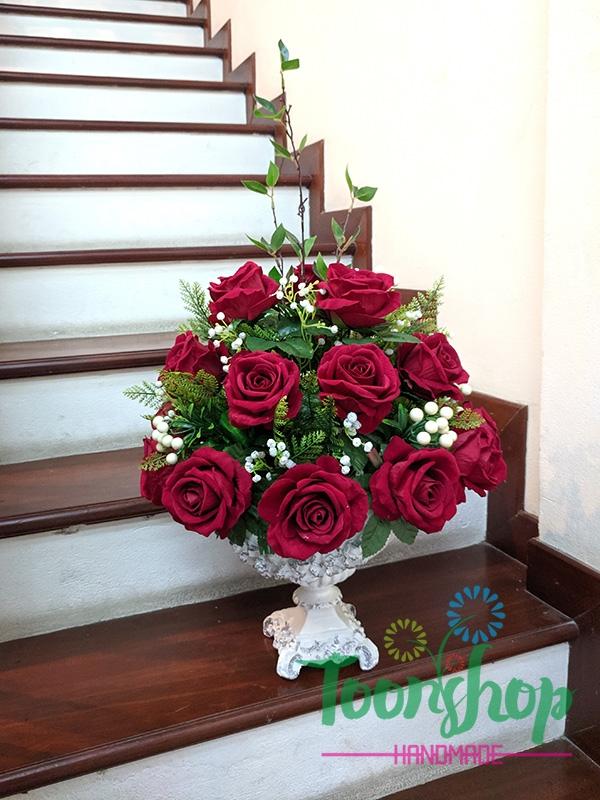 Chậu hoa hồng nhung Nồng Nàn Sắc Đỏ 01