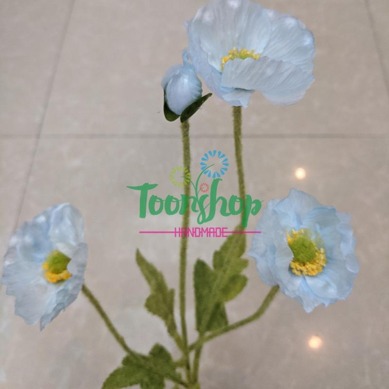 Cụm hoa anh túc 3 bông 1 nụ