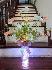 Lọ hoa anh túc xanh hồng 01