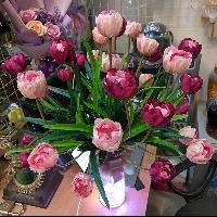 Bình hoa tulip vàng và hồng đậm