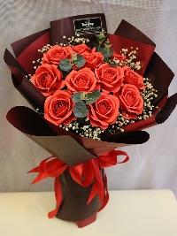 Bó hồng giấy 18 bông đỏ tươi 01