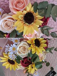 Bó hoa hồng kèm hướng dương giấy Nắng Ban Mai