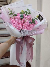 Bó hoa hồng sáp thơm màu hồng phấn